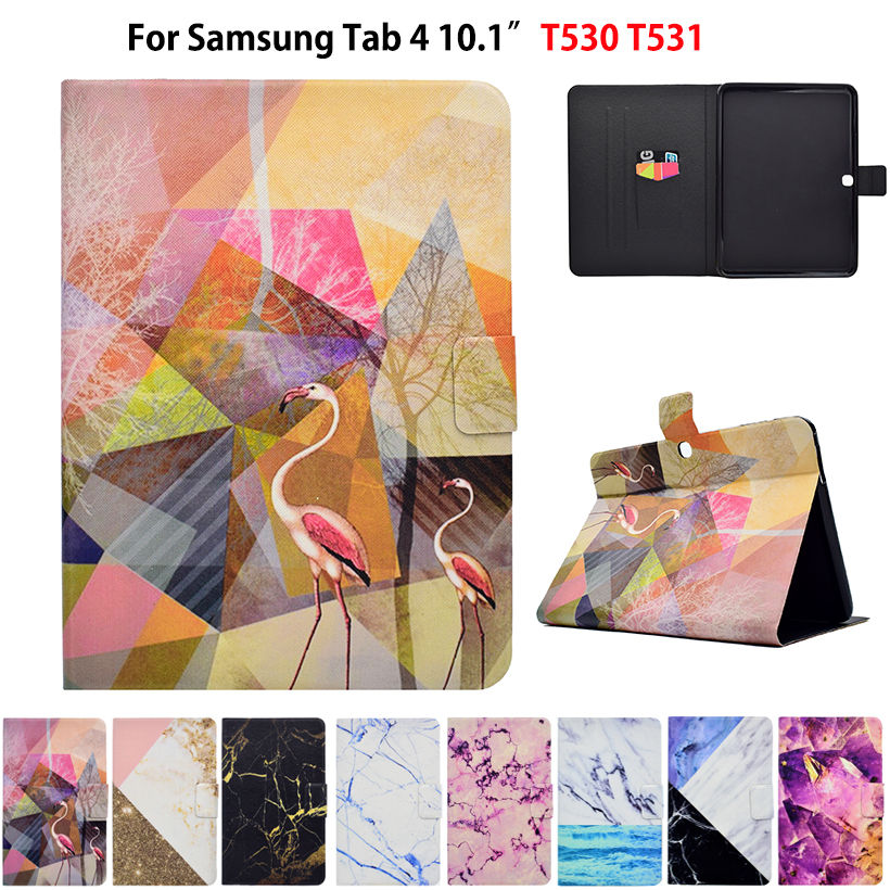 Marble Pattern Case For Samsung Galaxy Tab 4 10.1 T530 T531 T535 Case Smart Cover Funda Tablet PU Leather Stand Skin Sleep&Wake pu leather tablet case cover for samsung galaxy tab 4 10 1 sm t531 t530 t531 t535 luxury stand case protective shell 10 1 inch