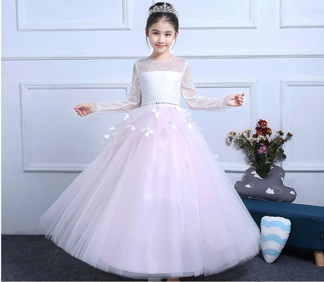 Holy Communion Dresses Ball Gown Long Sleeves Lace Back Button Solid O-neck Flower Girl Dresses Vestido De Daminha Actual Image