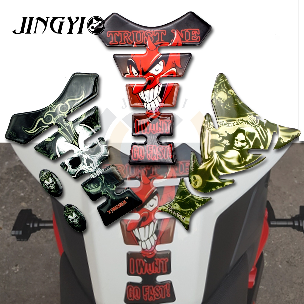 3d motorcycle decal tank pad protector skull racing car sticker for yamaha virago 535 r15 accessories nmax 155 xmax300 fz1 r25