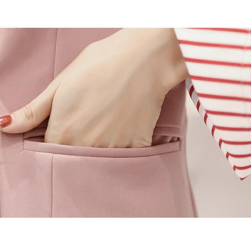 Pantalonamp; Slim Costume Nouveau Costumes Pièce Femme T bleu Ensemble Blazer Mode Femmes Pour Veste Bureau rose Travail Vintage Noir Et De 3 Feminino Pantalons wPilOukZXT