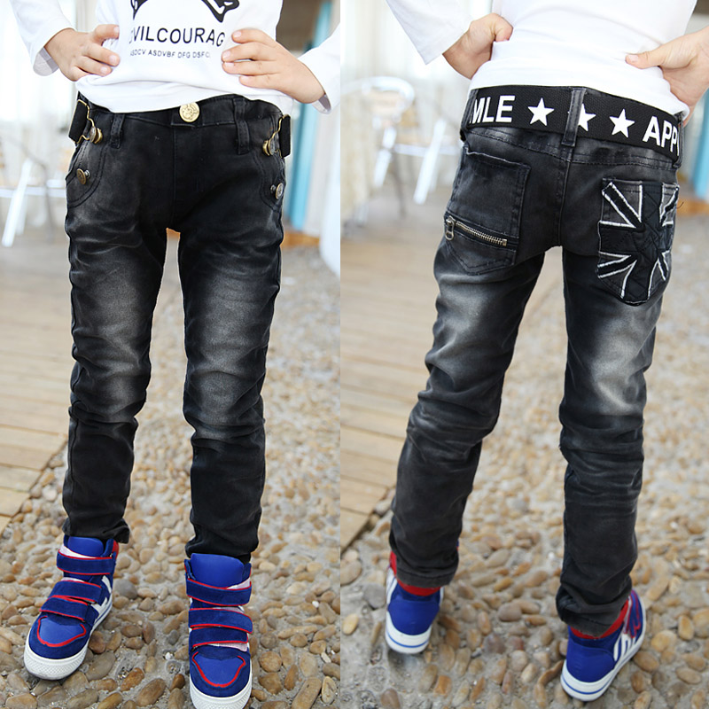 2016 Spring Boys Pants Black Color With White Print Hight Quality Kids Jeans