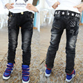 2016 Spring New boys pants black color with white print hight quality boys kids jeans for children 2 to 12 years old  B141