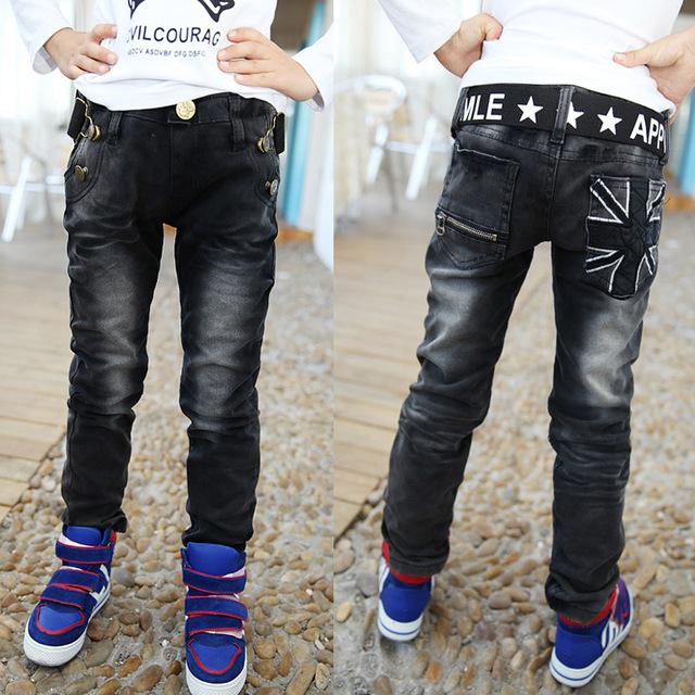 2016 nova primavera meninos calças com impressão alta qualidade meninos crianças jeans para crianças de 2 a 12 anos de idade B141