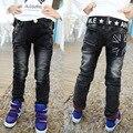 2016 primavera nuevos pantalones de los muchachos de color negro con blanco imprimir hight calidad de los muchachos niños pantalones vaqueros para niños 2 a 12 años de edad B141