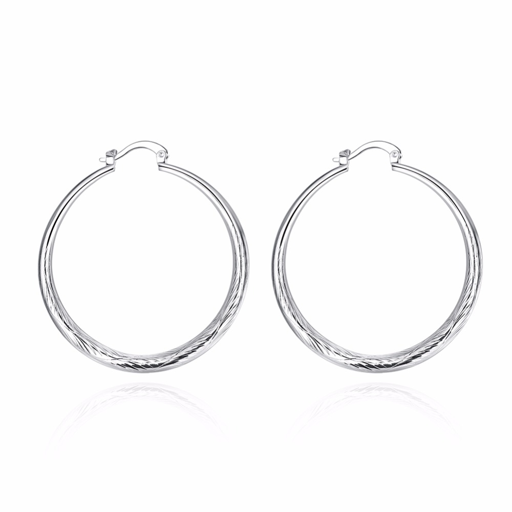 Womens round big fish ear ring - small fashion silver earrings with round ears