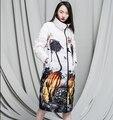 2016 Зимняя Куртка женщин Вниз куртки пальто Материнства долго печати свободные duck down пальто женская пиджаки плюс размер падения куртки