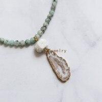Kiwi Jaspers Nugget Koraliki Naszyjnik Złoty Łańcuch Naszyjnik z Biały Howlite Turquoises i Agaty Druzy Geode Wisiorek N17041712