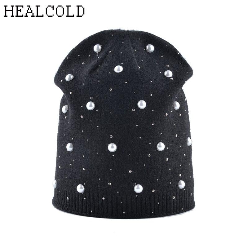 2019 Winter Beanie Hats For Women Rhinestones Pearls Wool Knitted Beanie Hats Women's Cap Bonnet Femme Skullies Beanies
