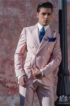 High Quality Double Breasted Pink Groom Tuxedos Peak Lapel Groomsmen Mens Suits Blazers (Jacket+Pants+Tie) W:752