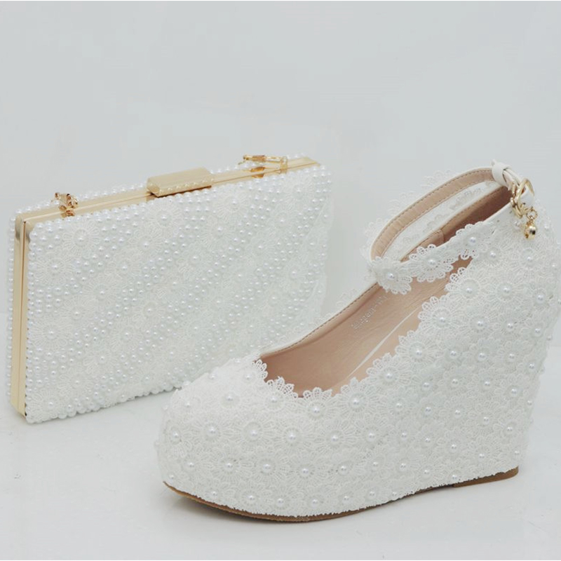 BaoYaFang White Lace Women wedding shoes with matching bags High wedges Ladies Party platform shoes and