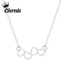 Chereda Four Heart Charm Silver Gold Necklace&Pendant Trendy Statement Party Engagement Jewelry Birthday Gift цена в Москве и Питере