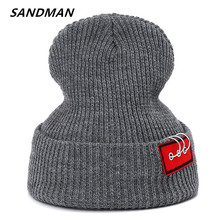 SANDMAN New Fashion Iron Ring Hip Hop Winter Hat Cotton Cartoon Knitted Skuilles Beanies For Men Women Brand Warm Hat