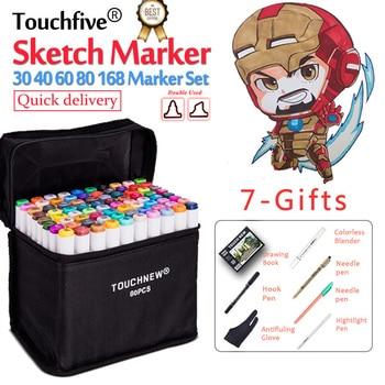Touchfive 30 40 60 80 168 Cores Dupla Cabeça marcador caneta Definir Marcadores Esboço Projeto Brush Pen Para Desenhar Mangá fontes da arte