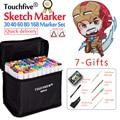 Touchfive 30 40 60 80 168 색상 듀얼 헤드 마커 펜 세트 스케치 마커 브러시 펜 그리기 만화 디자인 미술 용품|아트 마커|   -