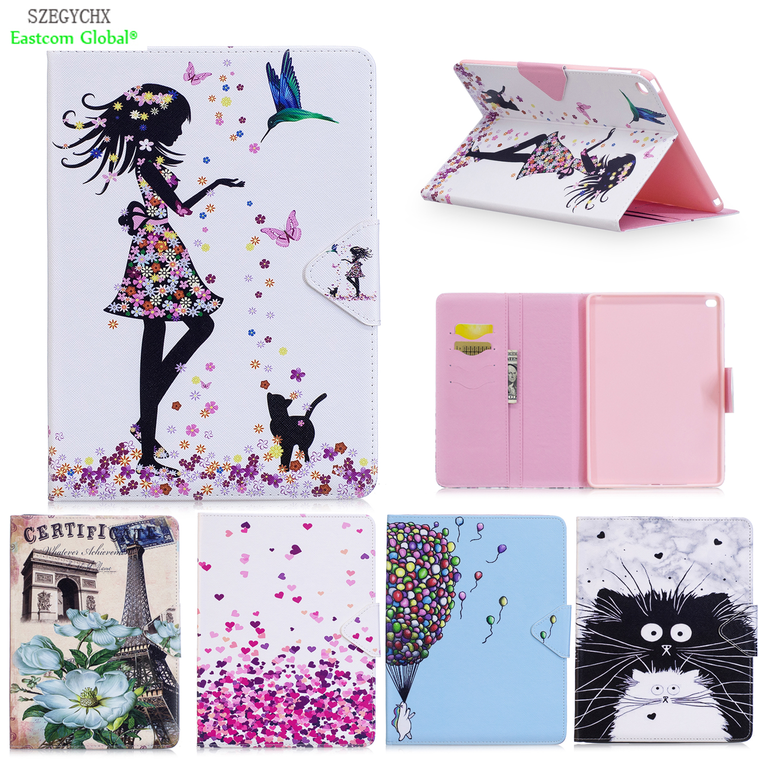 купить Cover For iPad Air 2 A1566 A1567 , SZEGYCHX PU Leather Smart Cover Stand case Shell Tablet Case For ipad 6 For iPad 9.7 inch недорого