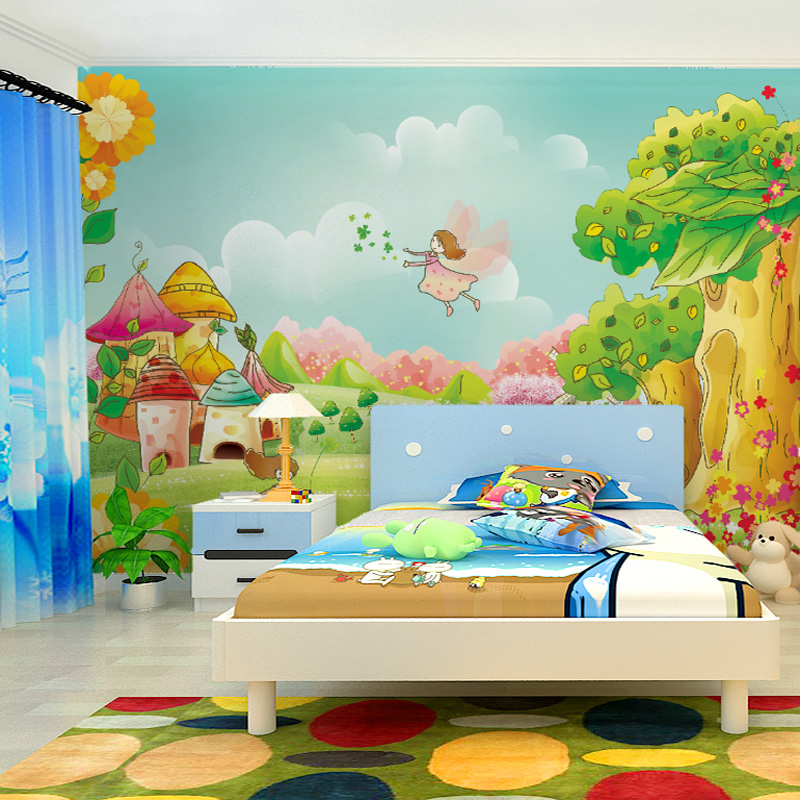 Large mural painted children 39 s room wall mural wallpaper for Children s mural wallpaper