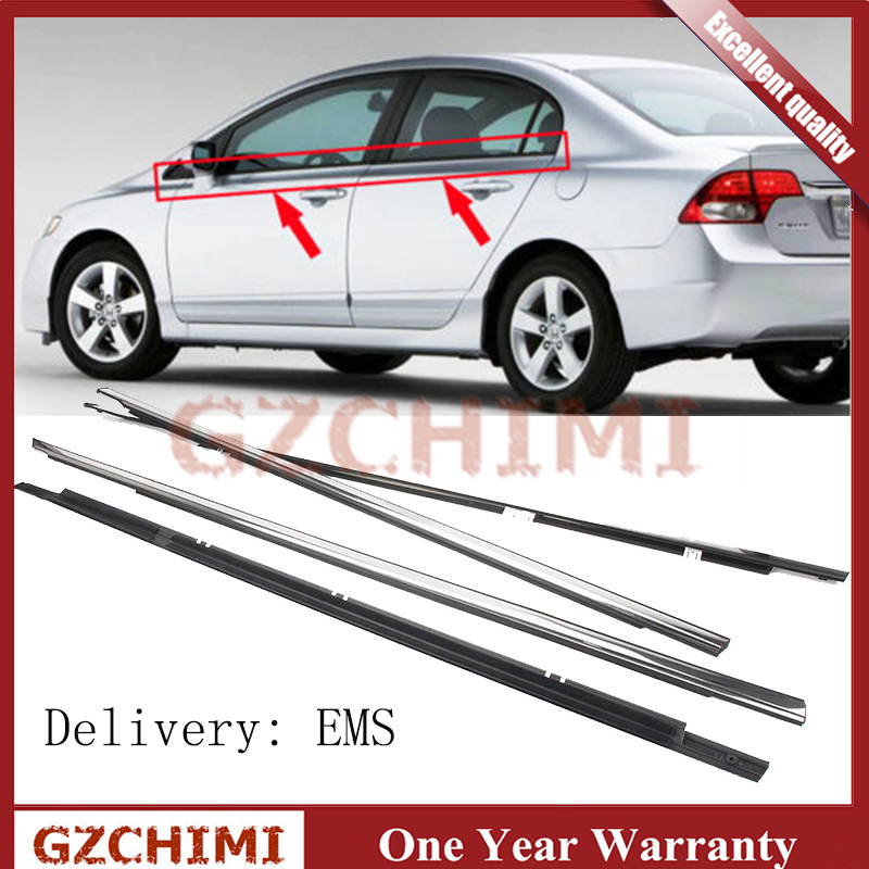 72910SNAA01 4PCS Chrome Outside Window Door Belt Weatherstrip Weather Strip Seal Trim For <font><b>Honda</b></font> <font><b>Accord</b></font> 2008 <font><b>2009</b></font> 2010 2011 2012 image