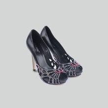Basic Editions Женщины Высокие Каблуки Весна Лето Обувь Свадьбу Peep Toe Вырез Горный Хрусталь Shoes-2108B830