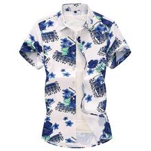 Hawaiian Mens Shirts Dress Fashion Summer New Plant Flowers Korean style Shirt for Men Blue Floral Beach Camisa masculina