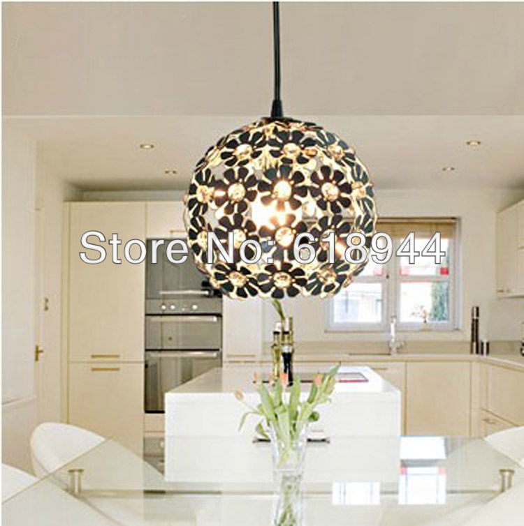 Free Shipping Modern Brief Pendant Light Iron and Crystal Restaurant Lamp Fashion Lighting Light Fixture for Dining Room Bedroom