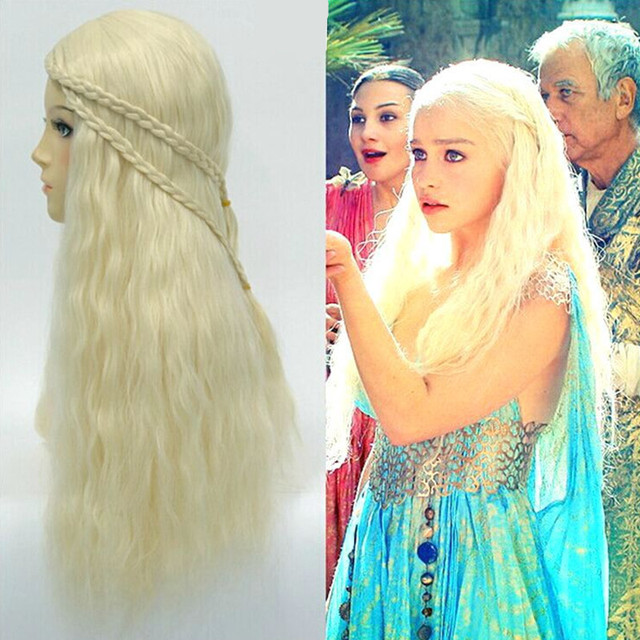 game of thrones daenerys targaryen cosplaywigs headwear long blonde peruca woman halloween costumes carnival purim party