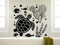Sualtı Dünyasını Kaplumbağa Yosun Balık Kabarcıklar Okyanus Hayvan Hayat Vinil Banyo Dekor Duvar Sticker Ev Dekoratif Washroom B4