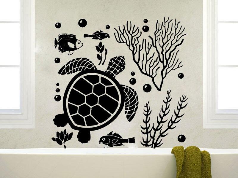Turtle Bathroom Decor: The Underwater World Turtle Seaweed Fish Bubbles Ocean