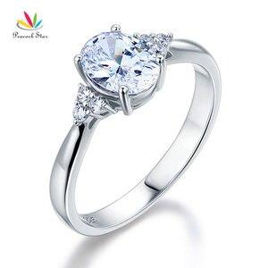 Image 1 - Павлин звезда твердое 925 пробы Серебряное обещание кольцо доступная Свадьба овальной огранки создан Диаманте CFR8123