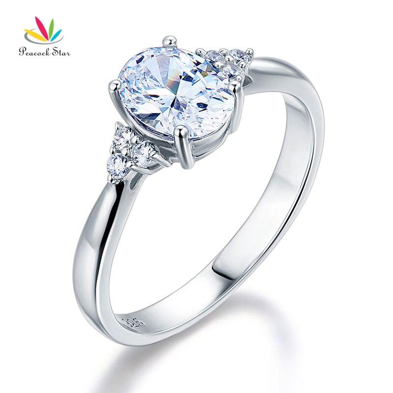 Estrela pavão Sólido 925 Sterling Silver Oval Cut Criado Diamante Anel da Promessa de Casamento A Preços Acessíveis CFR8123