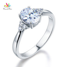 Peacock Star Solid 925 Sterling Silver Promise Ring Affordable Wedding Oval Cut Created Diamante CFR8123