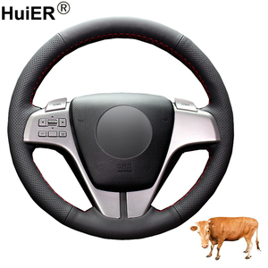 Hand Sewing Car Steering Wheel Cover Funda Volante Top Layer Cow Leather Volant For Mazda 6 (GH) 2007 2008 2009 2010 2011 2012 Steering Covers     -
