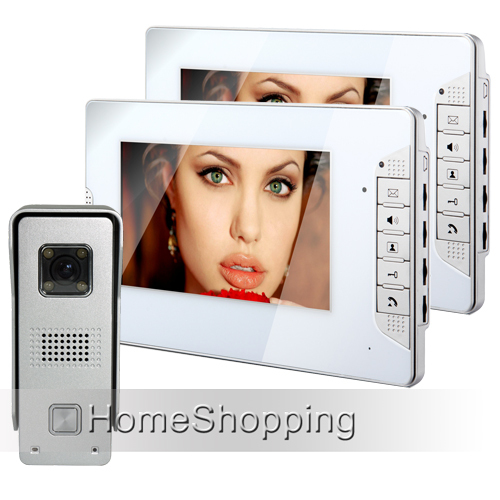 FREE SHIPPING Home Security Wired 7 inch Video Intercom Door Phone System 2 White Monitor 1 Waterproof Doorbell Camera In Stock bnc 2 in 1 monitor system lightning surge protector for security camera white black