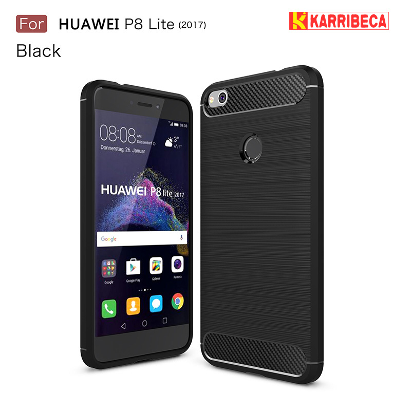 Carbon fiber silicone case for <font><b>Huawei</b></font> p8 lite 2017 funda coque armor tpu brushed cover honor 8 lite etui tok kryt p9 lite 2017 image