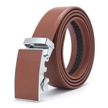 Mens Leather Ratchet Automatic Buckle Belt for Men Genuine Dress Holeless Sliding Belts