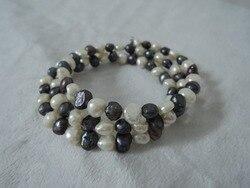 100% nature perle d'eau douce bracelet-3 LIGNES BAROQUE PERLE BRACELET
