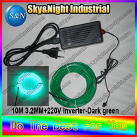 Ten colors el wire 3.2mm 10M Dark green+220V inverter+free shipping red/pink/purple/green/yellow/white/blue/ice blue/orange