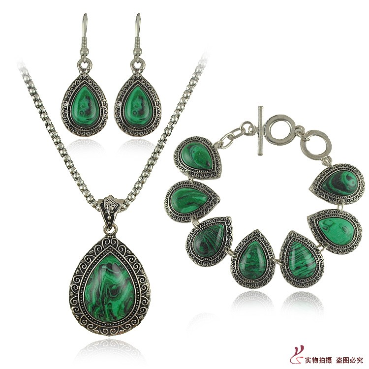 Natural Green Malachite Stone Necklace Set Women Water Drop Stone Earrings Bracelets Wedding Jewelry Sets 2017 Fashion Jewelry