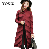 Vodiu Parka Women Winter Jacket Long Down Jacket Women's Parkas Female Long Sleeve Slim Fashion Cotton Solid New Year Hot Sale
