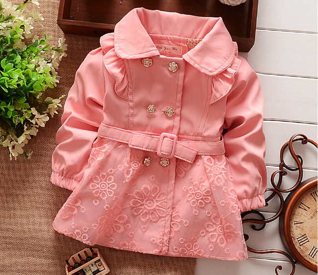 2016 New Children Outerwear Spring autumn Babi Girls trench Jackets coat Coats Baby Girls clothing sets kids clothes Retail 1 Pc