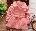 2016 Novas Crianças Outerwear Primavera outono Meninas Babi trincheira Jaquetas casaco Casacos Meninas Do Bebê roupas conjuntos de roupas infantis de Varejo 1 Pc