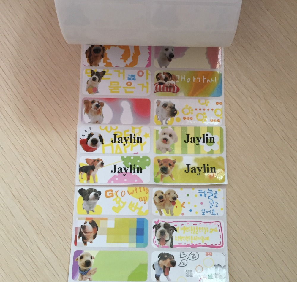 Aliexpress com buy 64pcs cute dog custom waterproof name labels back to school daycare kids birthday party favor stickers from reliable stickers