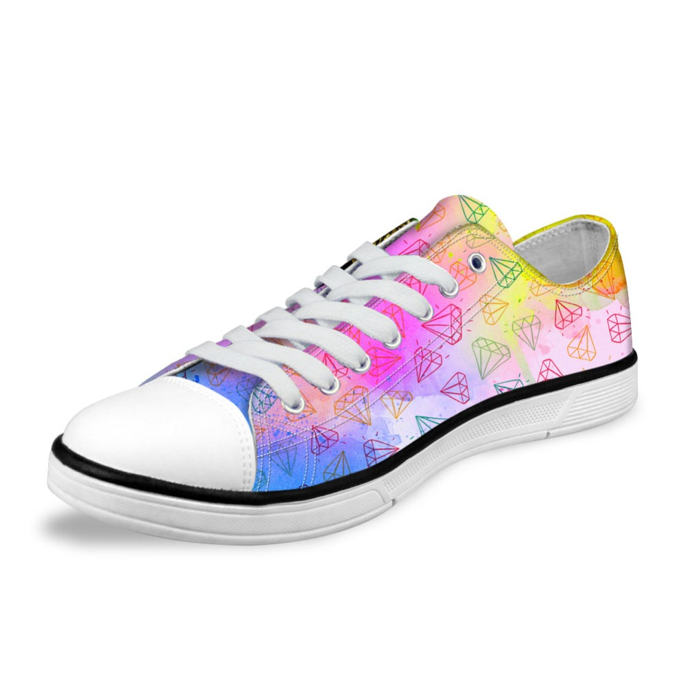 NOISYDESINGS Spring Women Flats Classic Canvas Shoes Colorful Diamond Printed Lightweight shose Womens Sneakers Lace up Shoes