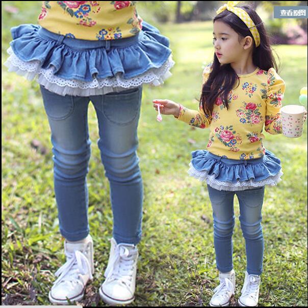 c3a1af0a591 New 2016 Spring Autumn Girls jeans kids tutu skirt pants