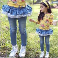 New 2016 Spring Autumn Girls Jeans Kids Tutu Skirt Pants Toddler Girls Leggings Baby Girls Winter