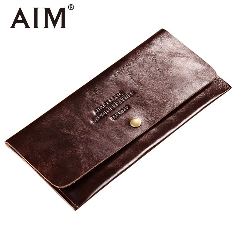 AIM Soft Pure Genuine Leather Hasp Wallets Men Vintage Cow Leather Long Coin Purse Slim Wallet Man Brand Design Card Holder A301 wolf head men wallets genuine leather wallet fashion design brand wallet leather man card holder purse