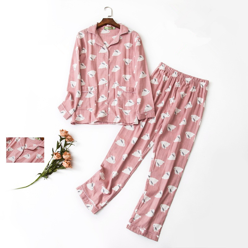Women   pajama     sets   cotton cartton pink color with cute rabbits printed spring summer high quality brief sweet pyjamas for ladies