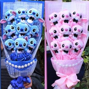 Artificial blue pink flower bouquet mini bouquet of plush toy silk soap bouquet wedding Valentine's Day wedding decoration