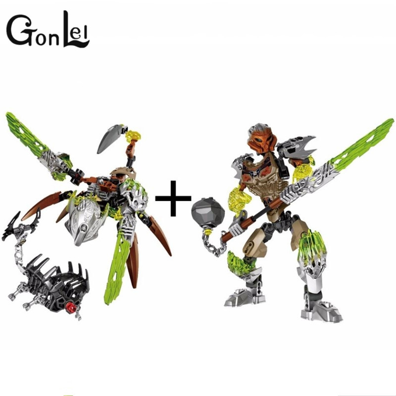 GonLeI BIONICLE Ketar Creature of Stone+Pohatu Stone Land Guardian 609-2+610-2 Compatible legoingly Building Block Bricks toy