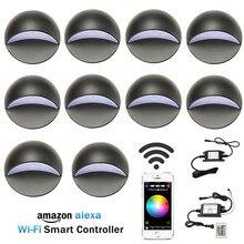 10 قطعة الذكية المنزل WAN LAN Wifi تحكم 50 مللي متر RGB 12 V الجهد المنخفض الأسود نصف القمر LED سطح السفينة درج آخر ضوء خطوة سياج الجدار مصباح