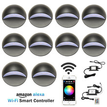 10PCS Smart Home WAN LAN Wifi Controller 50mm RGB 12V Low Voltage Black Half Moon LED Deck Stair Post Light Step Fence Wall Lamp